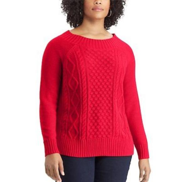 52143fd38c1 Plus Size Chaps Cable-Knit Crewneck Sweater